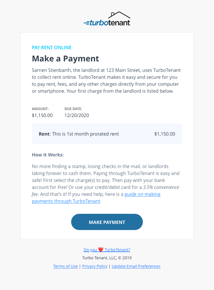 First Charge Email